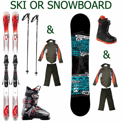 Adult & Child Ski or Snowboard Hire Packages