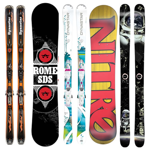 Description of Skis & Snowboards available for hire in Boss Outdoor Sports - Jindabyne
