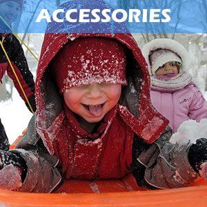 Snow Accessories including helmets, goggles, toboggans, snow shovels