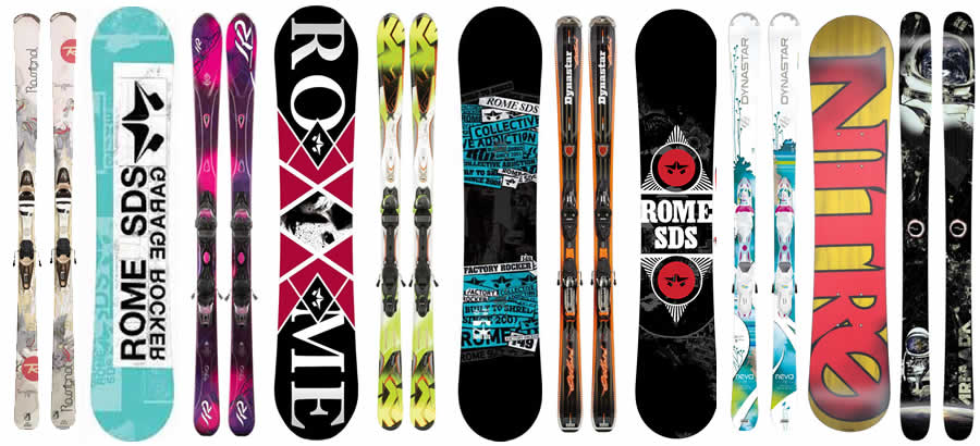 Skis & Snowboards available for hire in Boss Outdoor Sports Jindabyne